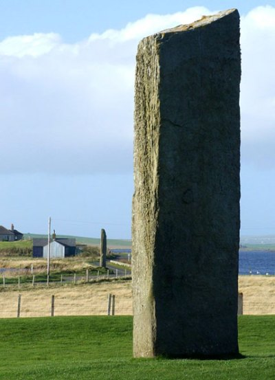 Stenness megalith, looking towards the Watchstone, Brig o' Brodgar and the Ness of Brodgar. (Sigurd Towrie)