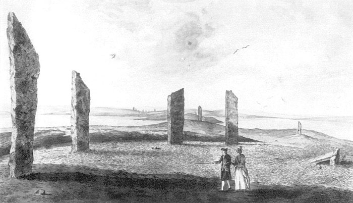 """""""View of a semi-circle of stones on the Banks of Stenhouse Lake"""" by John Clevely in 1772. The Odin Stone is visible in the middle distance to the right."""
