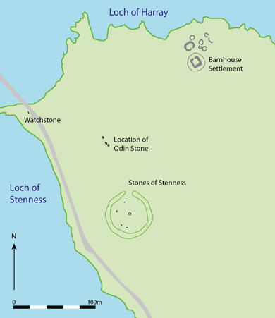 Location of the Odin Stone and its companions. (After Challands et al. 2005)