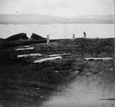An old photograph showing the aftermath of Farrer's excavation into the Plumcake Mound.