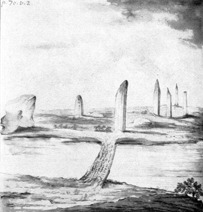 """""""View of a small Druid Temple"""" by Richard Pococke. Dating from 1760, it is the earliest known illustration of the Odin Stone."""