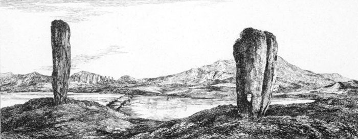 """""""Western Circle of the Stones of Stennis"""" by Elizabeth, Machioness of Stafford. 1805. In this exaggerated vision of the area, the Odin Stone is to the right with the Ring of Brodgar appearing just over the Brig o' Brodgar."""