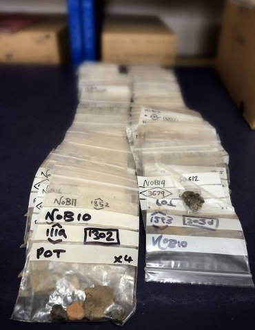 Sample bags containing pottery fragments recovered by flotation. (Sigurd Towrie)