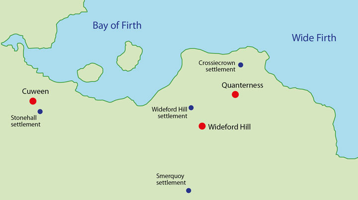 Location of the Wideford Hill chambered cairn in relation to the other known passage graves and settlement sites in the area.