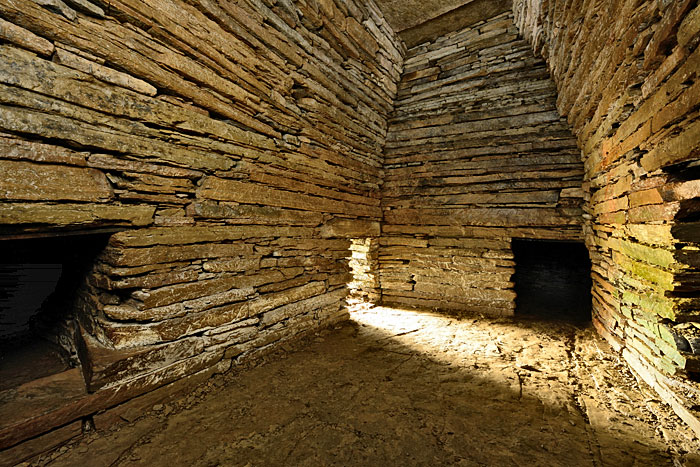 Interior of the Cuween cairn, looking towards the entrance in south-western corner of the chamber.