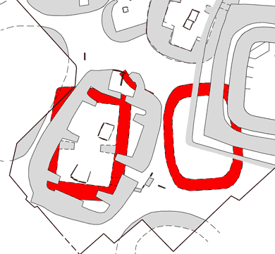 Structures Twenty-Eight, Twenty-Three and Thirty-Three in relation to the later buildings in this section of Trench P.