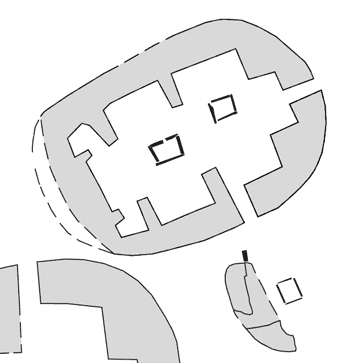 Structures Fourteen (top) and Sixteen. Structure One is pictured bottom left.