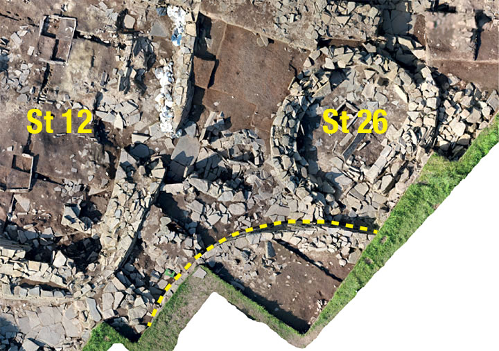 Drone shot showing Structures Thirty, Twenty-Six and Twelve. (Scott Pike)