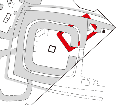 Structure Ten, built c2900BC, overlying the suspected remains of Structure Twenty (red).