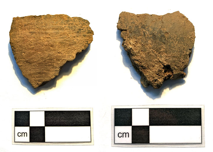 Two sherds of the round-bottomed, Early Neolithic pottery found in Structure Five. (Sigurd Towrie)