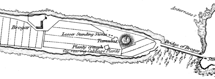 A section of Lieut Thomas' 19th century map of the Ness, showing the 'tumulus' with surface features still visible.