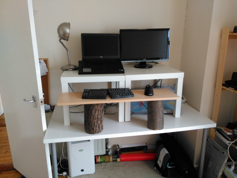 stand-up diy desk complete with equipment