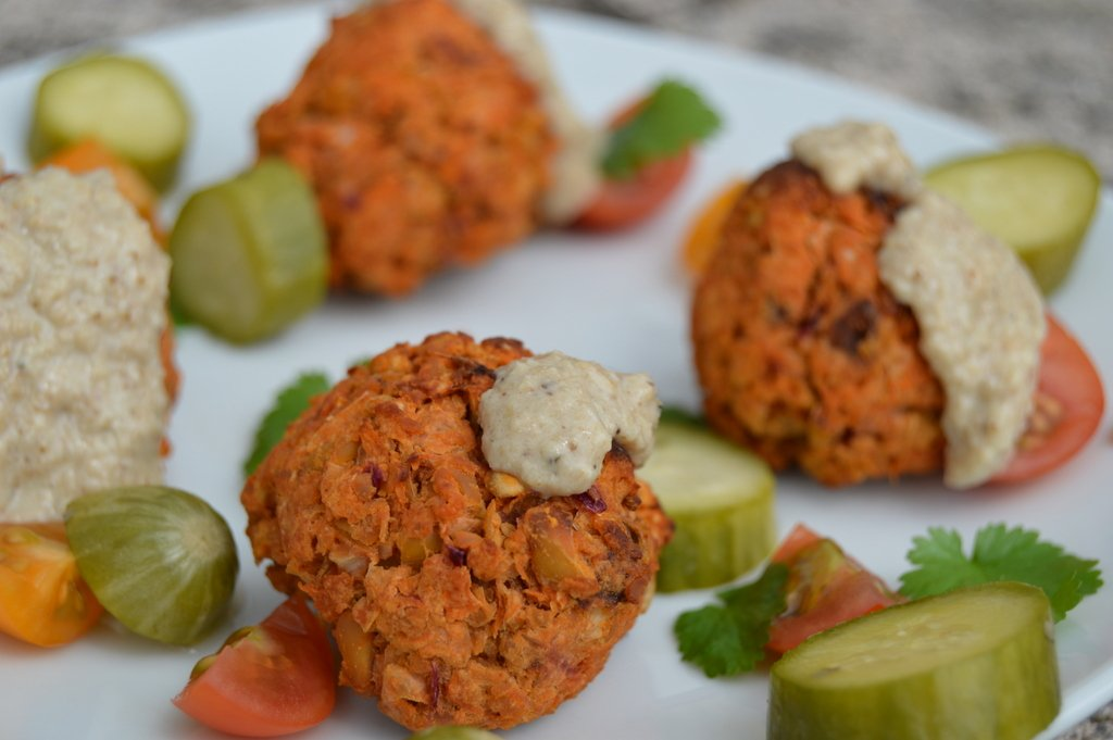 Sweet Potato Falafel with Sesame Lemon Dressing