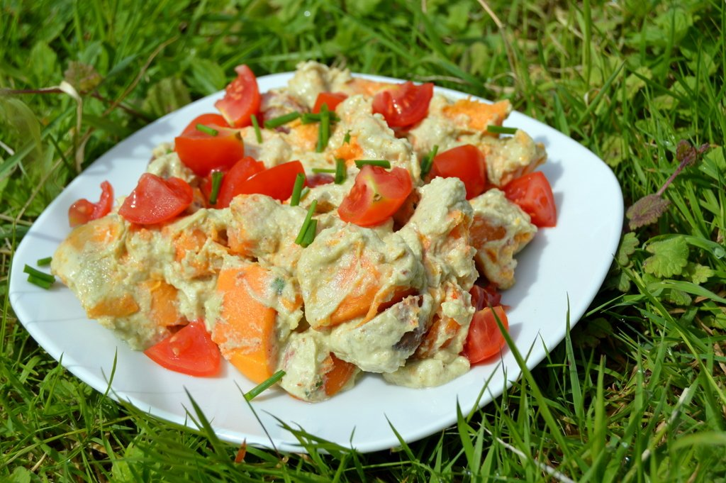 Avocado and Sweet Potato Salad on a plate