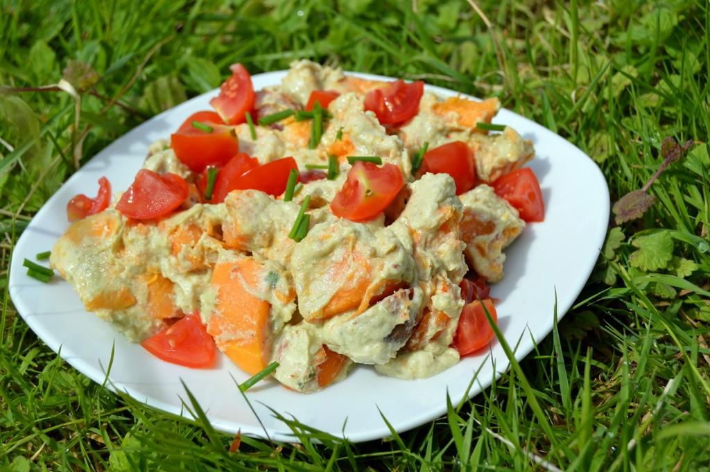 Avocado and Sweet Potato Salad on a plate