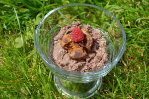 Quick Raw Chocolate Spread with a fig and rasberry for World chocolate day