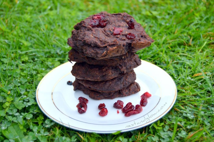 Stack of 4 Ingredient Chocolate Cranberry Cookies