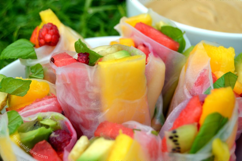 Fruity Summer Rolls with Salted Caramel Dip Close Up