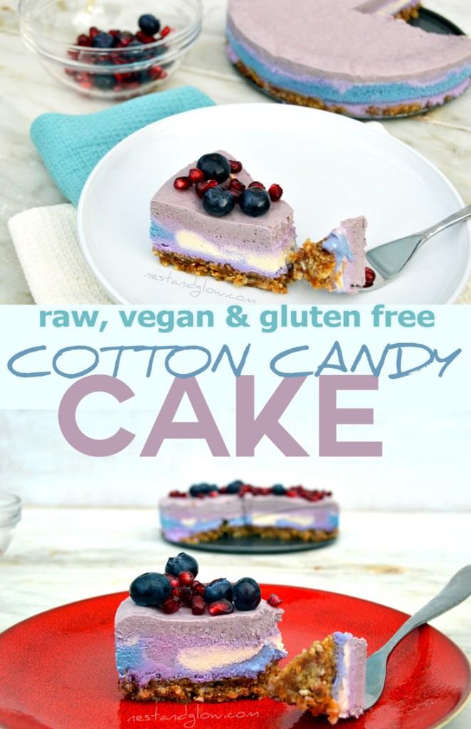 raw vegan healthy cotton candy cake recipe