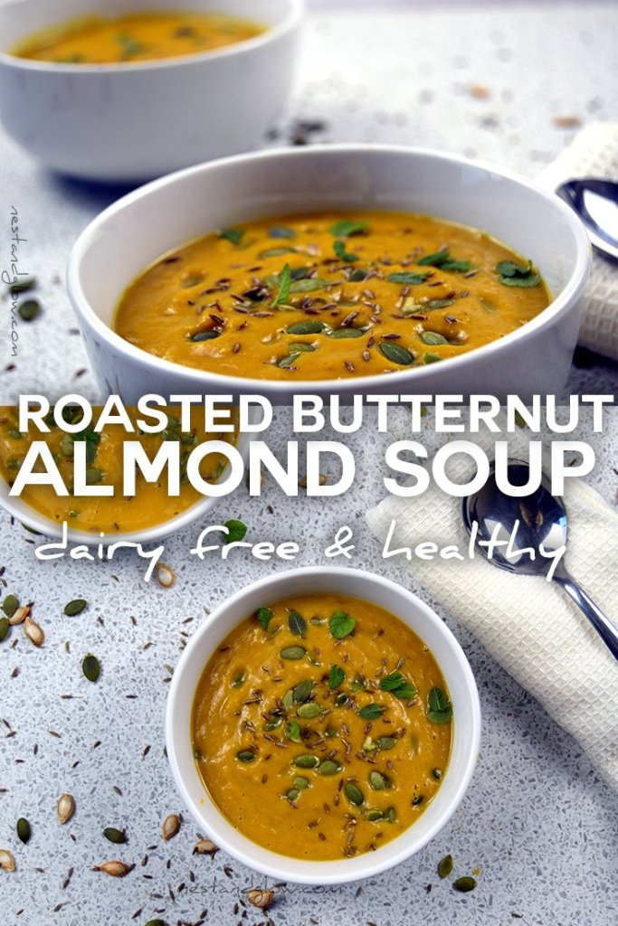 Easy recipe for roasted butternut squash almond soup
