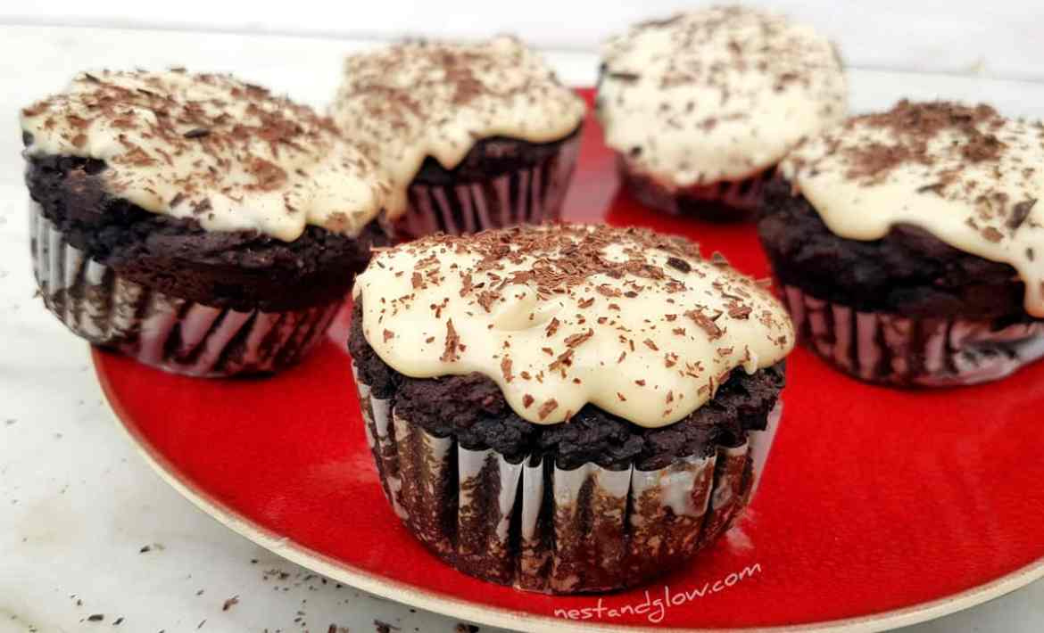 Black Bean Chocolate Fudge Muffins with Vanilla Frosting Recipe