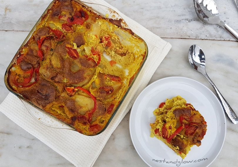 Cheap vegan cheese and tomato potato bake