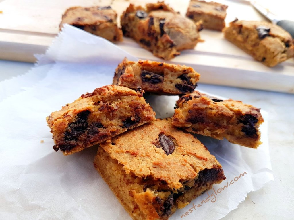 A plate of healthy vegan Chocolate Chip Almond Chickpea Blondies