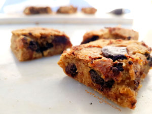 Close up of Chocolate Chip Almond Chickpea Blondies