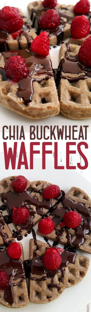 Chia Buckwheat Waffles with Berries and Chocolate - Vegan and gluten free