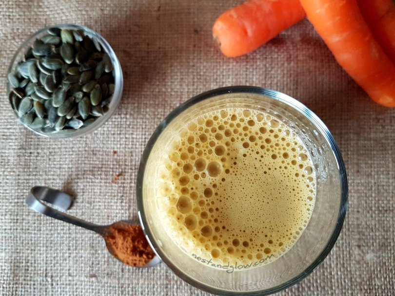 carrot pumpkin seed milk with ginger