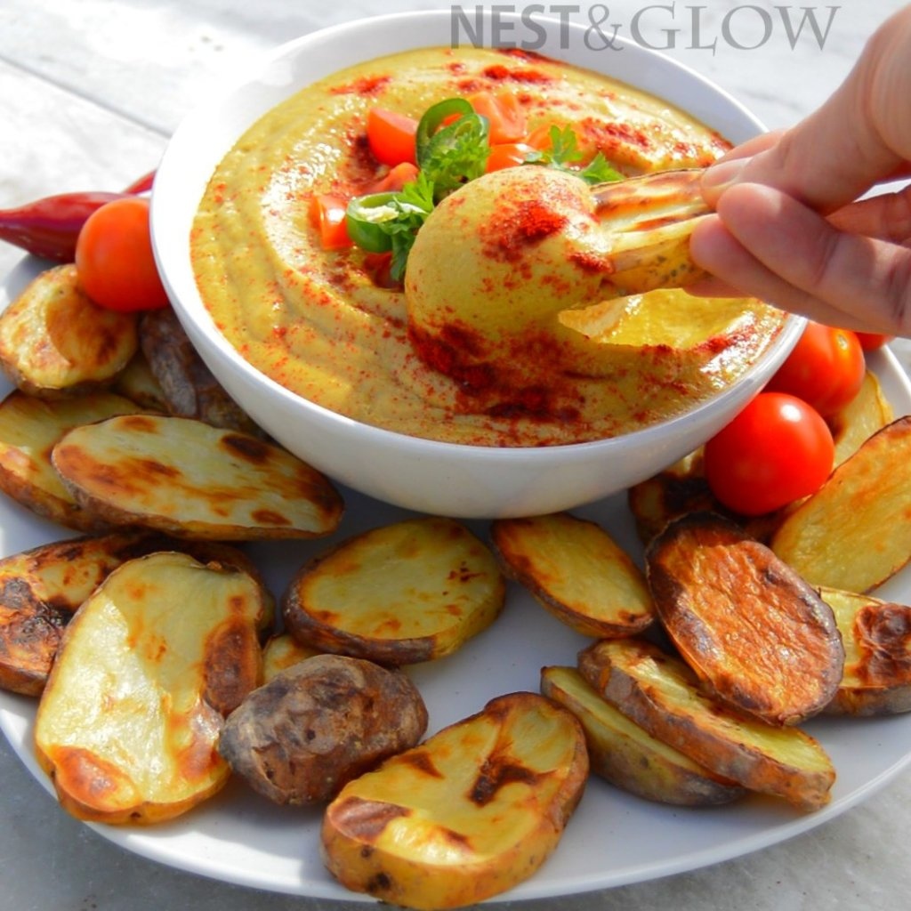 vegan cheese dip with vegetables