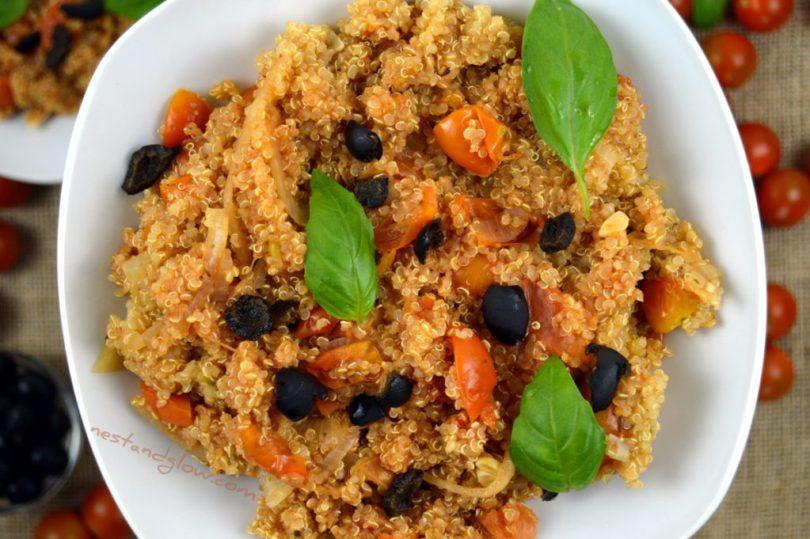 One-pot Tomato BasilQuinoa With Black Olives