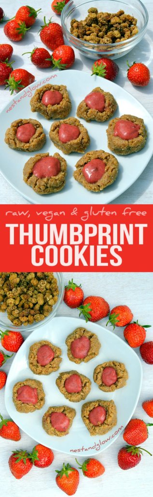 Raw Strawberry Thumbprint Cookies Recipe - Gluten-free, Paleo and Easy