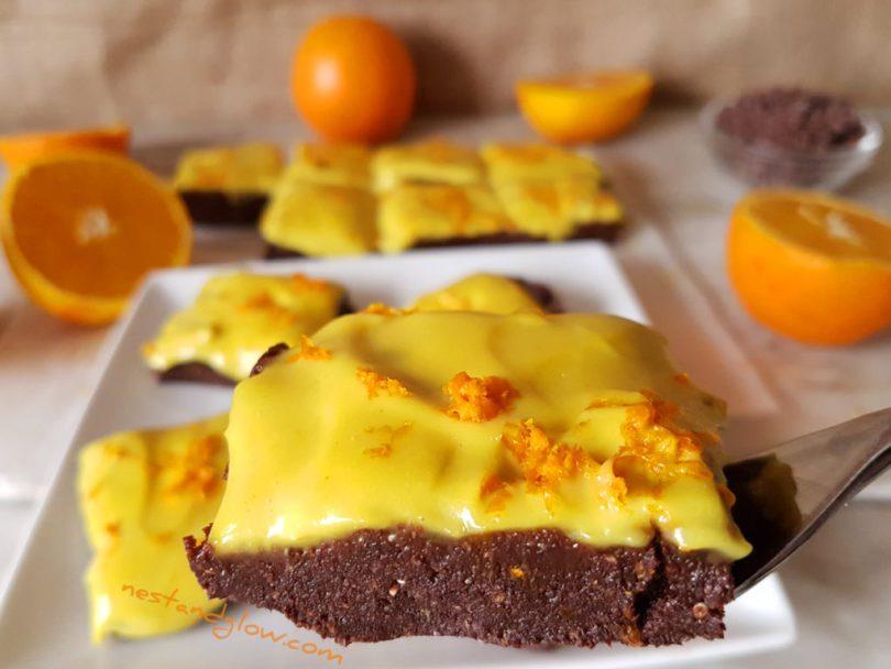 Raw Vegan Chocolate Orange Frosted Brownie Recipe