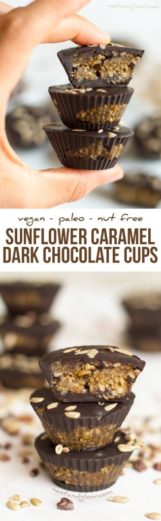 Sunflower Caramel Dark Chocolate Cups Recipe (Nut-free and Dairy-free)