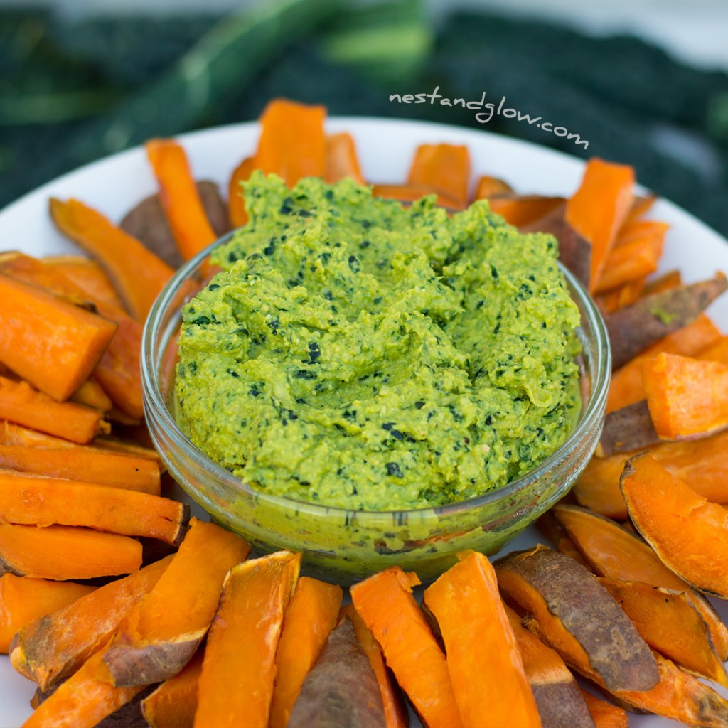 Kale Hummus and Sweet Potato Chips Baked Oil free