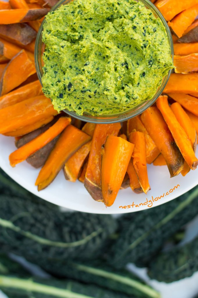 Kale Hummus and Sweet Potato Chips Close Up