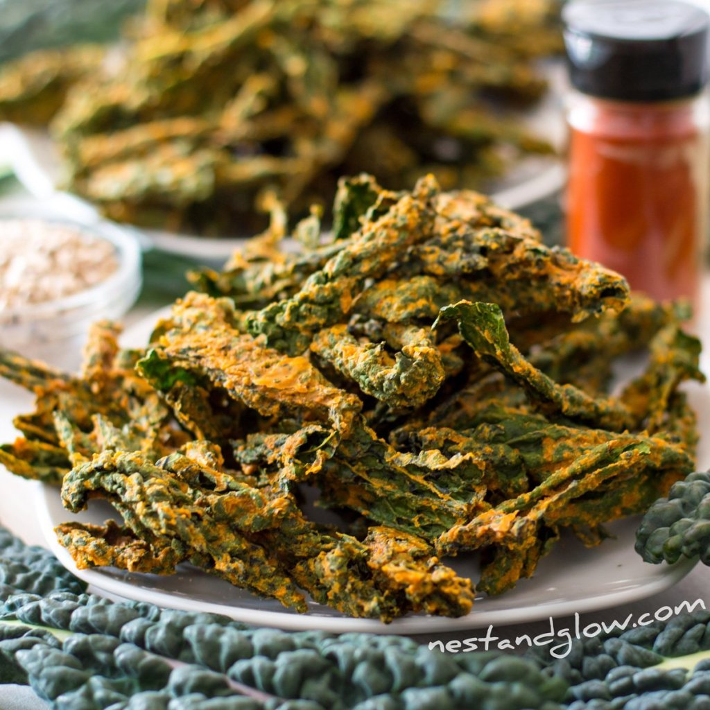 Smoked sunflower seed kale crisps