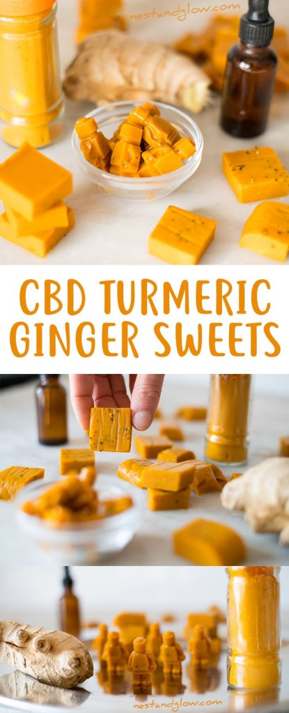 CBD Turmeric Ginger Sweets Recipe for pain relief, anti-inflammatory and anxiety relief