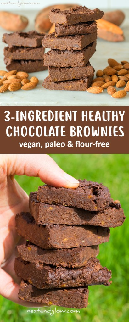 3-Ingredient Healthy Chocolate Brownies Recipe - Vegan, Oil-free and Flour-free