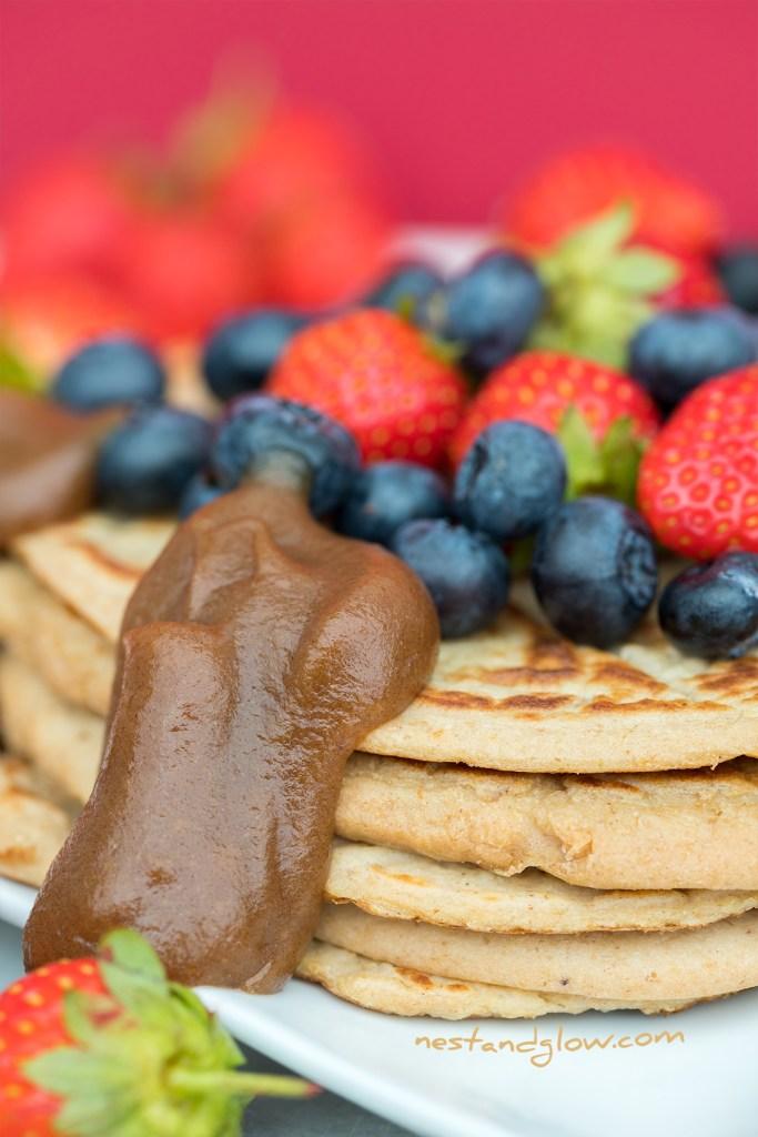 blueberry strawberry vegan pancakes