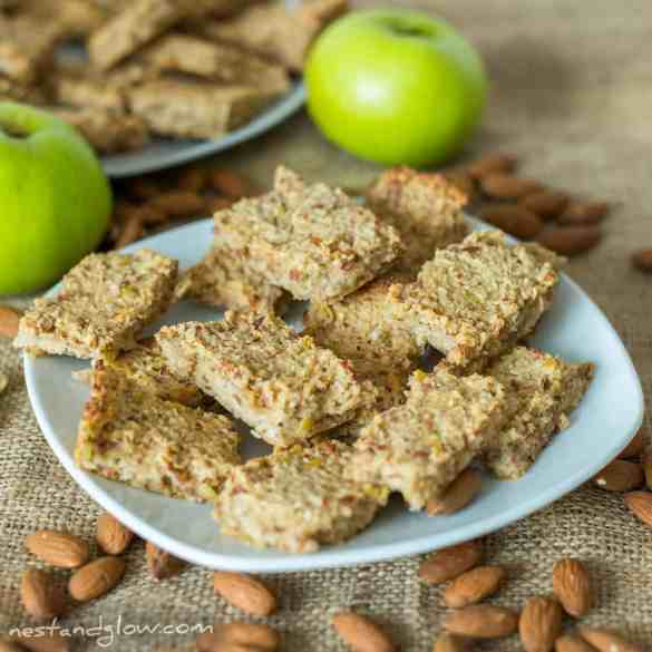 a plate of healthy apple almond oat breakfast bars