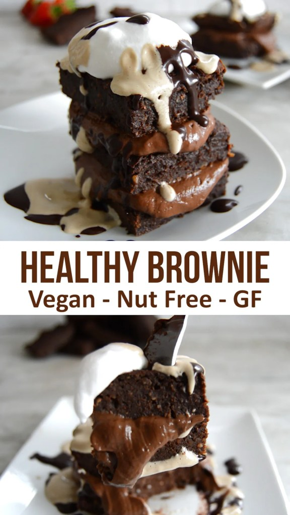 Healthy Chocolate Brownie - no dairy, no flour. no nuts, no gluten! Just seeds and chocolate in this recipe for a vegan sweet potato brownie. Easy to make and full of good stuff #veganrecipe #vegan #healthy #chocolate #brownie