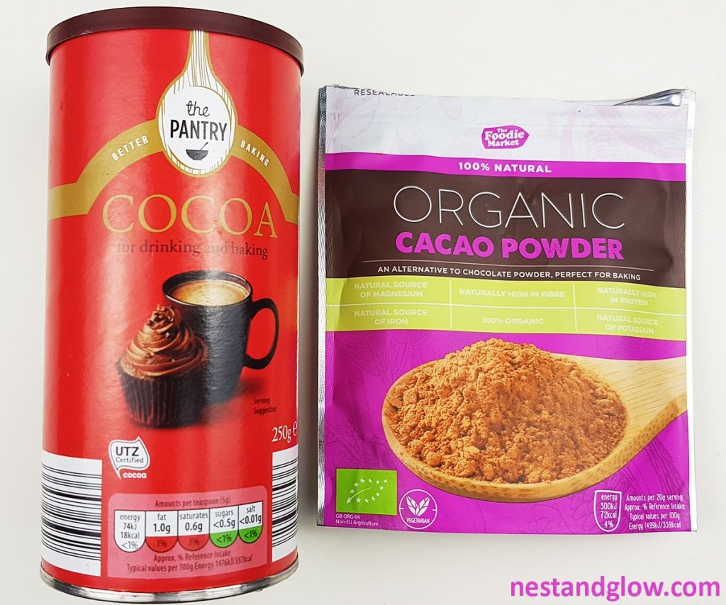 cacao powder and cocoa powder packets
