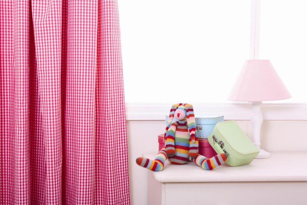 Hot Pink Gingham Pleated Curtains for children  kids in SA