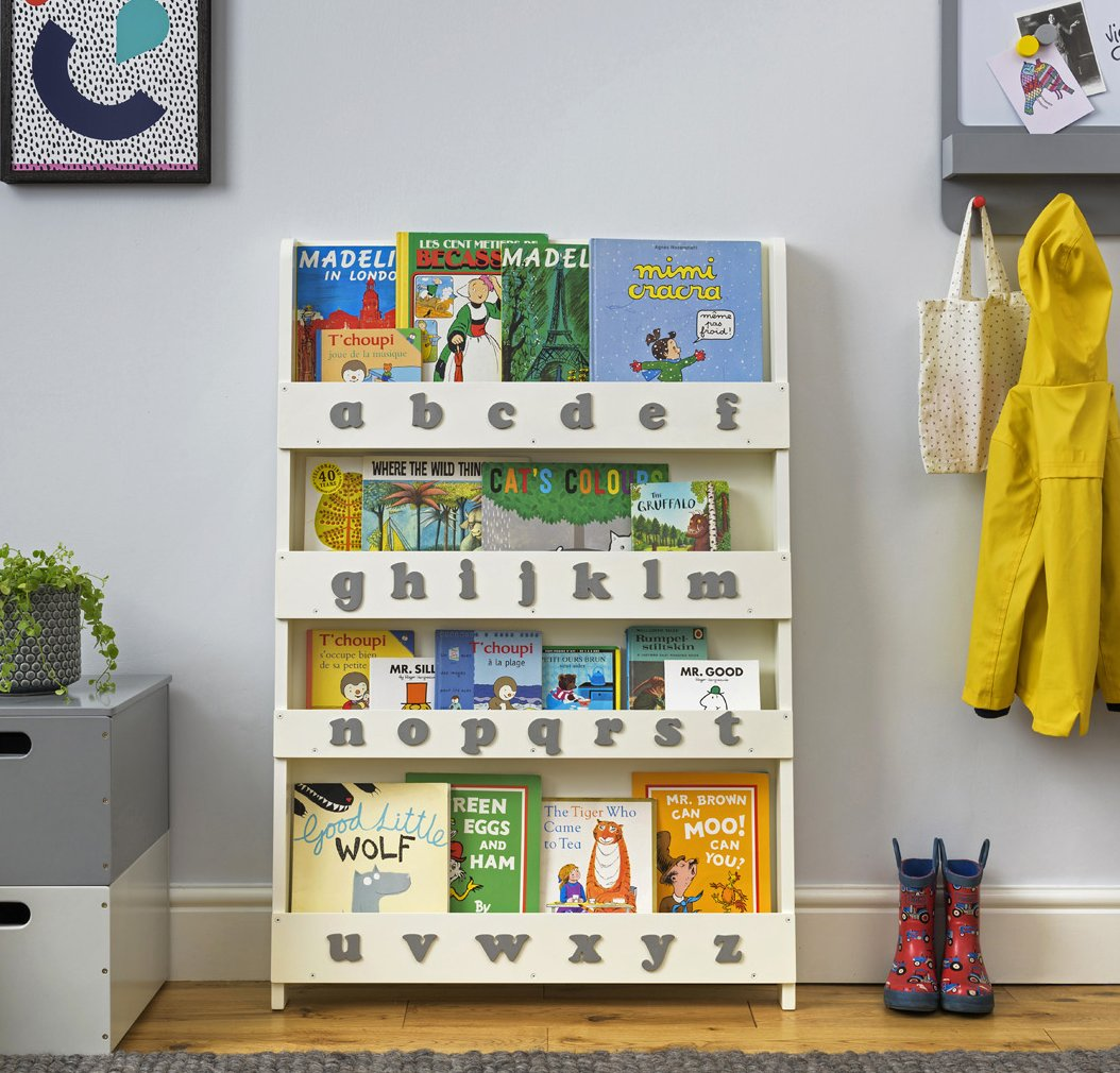 Wooden Alphabet Bookcase Grey By Tidy Books