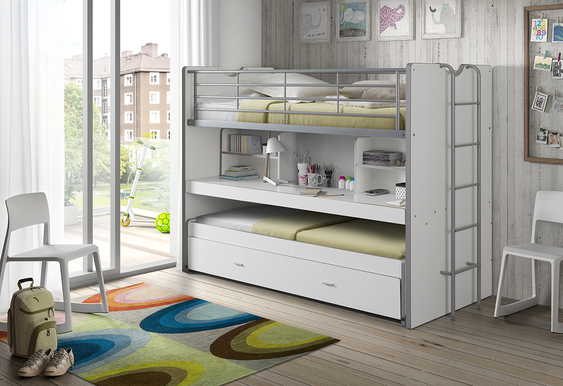 Bentley Bed White 3 In 1 Space Saver Bunk With Trundle Bed And Desk