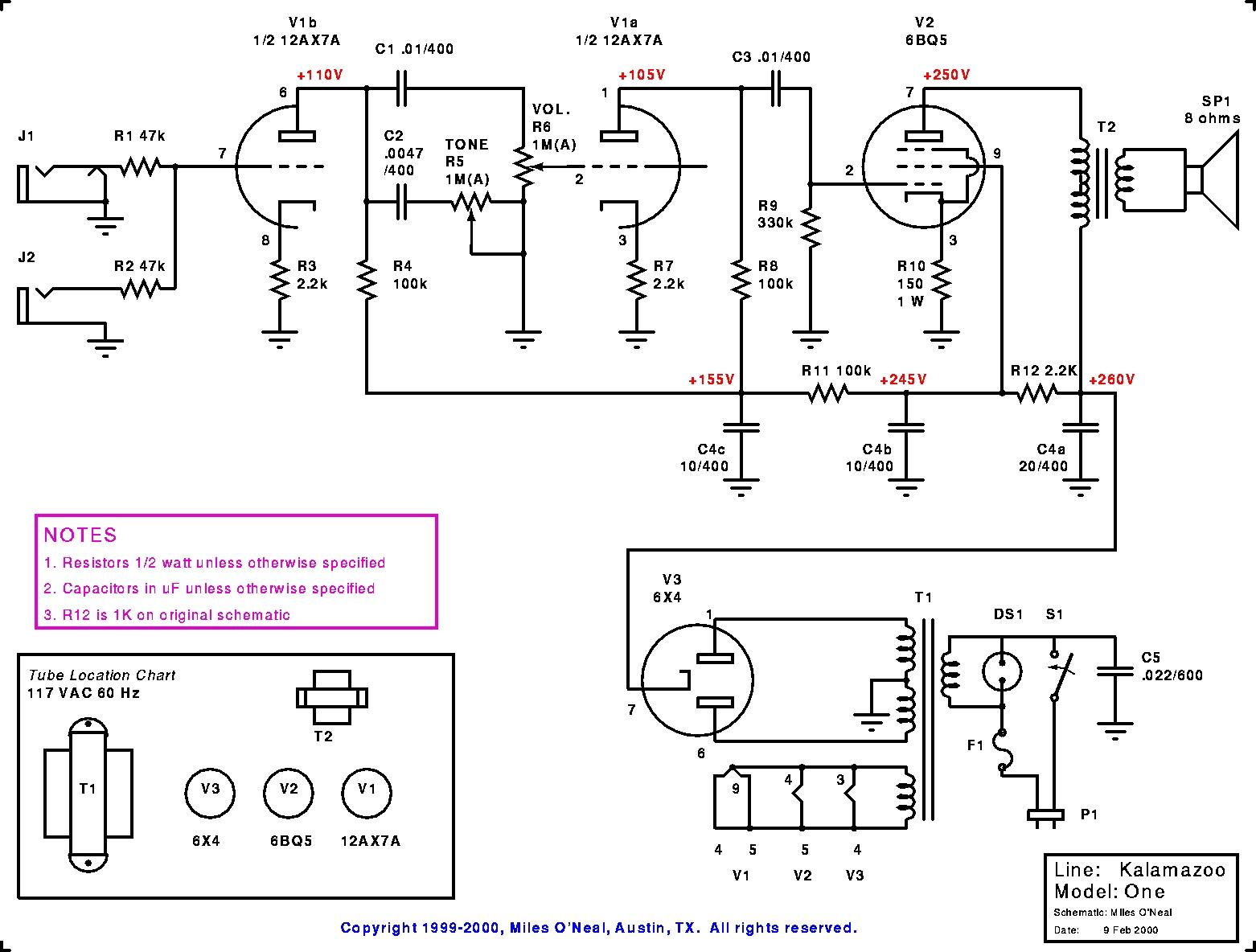Kalamazoo Amp Field Guide Model 1 Schematic