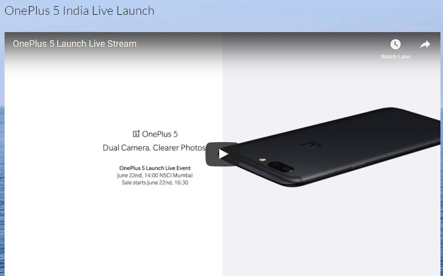 OnePlus 5 India Live Launch