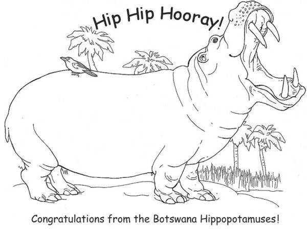 Free Coloring Pages Of Hippopotamuses